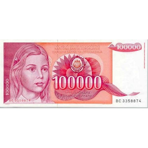 1989 - Yugoslavia Pic 97        100.000 Dinara banknote