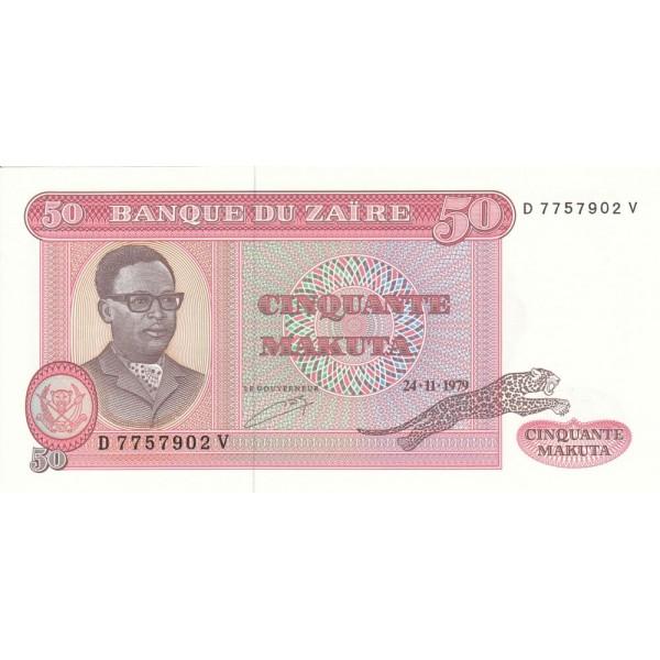 1979 - Zaire pic 17a  billete de 50 Makutas