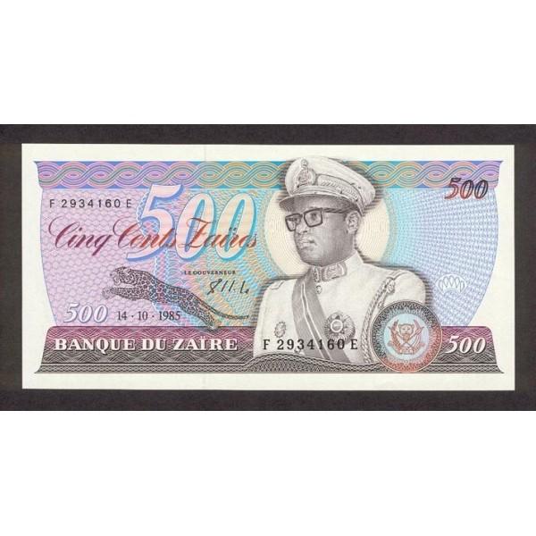 1985 Zaire pic 30b billete de 500 Zaires