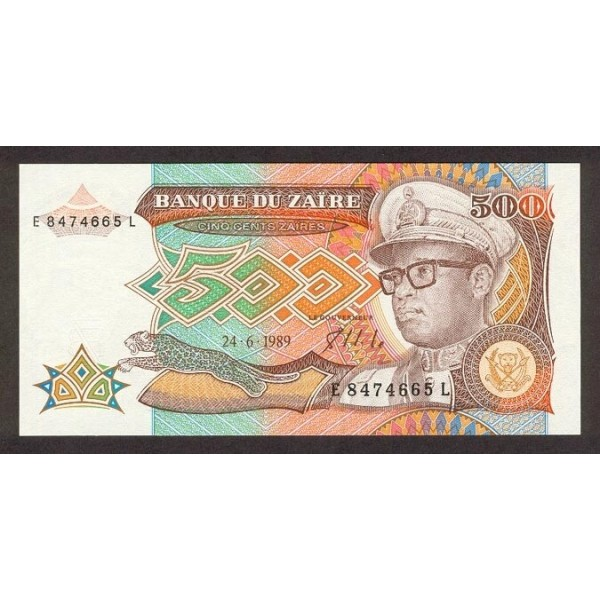 1989 - Zaire  Pic  34         500 Zaires  banknote
