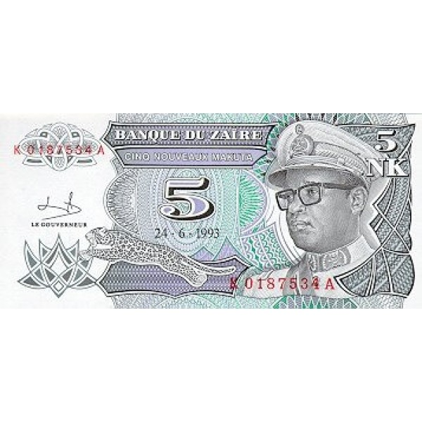 1993 - Zaire  Pic  48   5 nuevo likuta  banknote