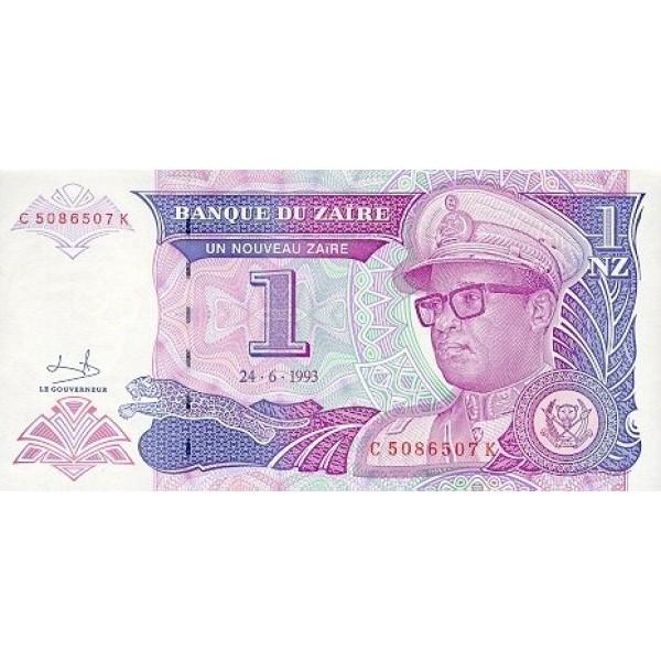 1993 - Zaire  Pic  52   1 nuevo zaire banknote