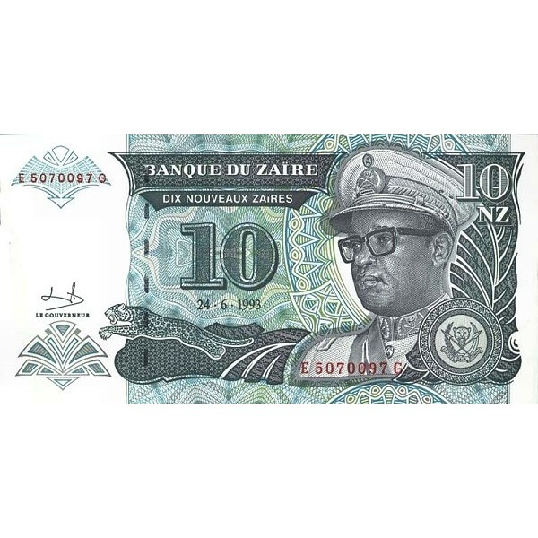 1993 - Zaire  Pic  55   10 new zaire banknote