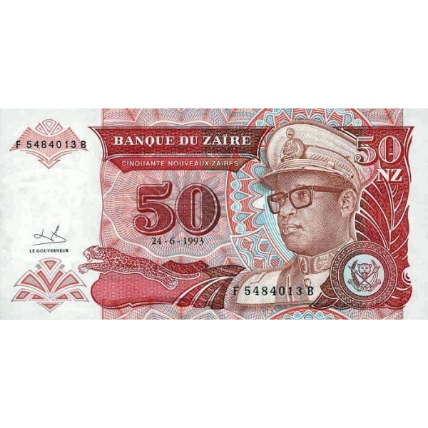 1993 - Zaire  Pic  57   50 new zaire banknote
