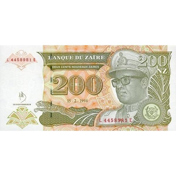 1994 Zaire  Pic  61  200 new zaire banknote