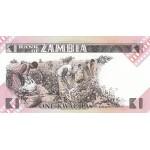 1980 - Zambia   pic  23a  billete de 1 Kwacha F.5