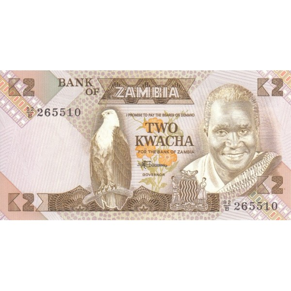 1980 - Zambia   pic  24c  billete de 2 Kwacha