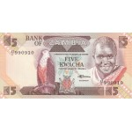 1980 - Zambia   Pic  25d          5 Kwacha  banknote