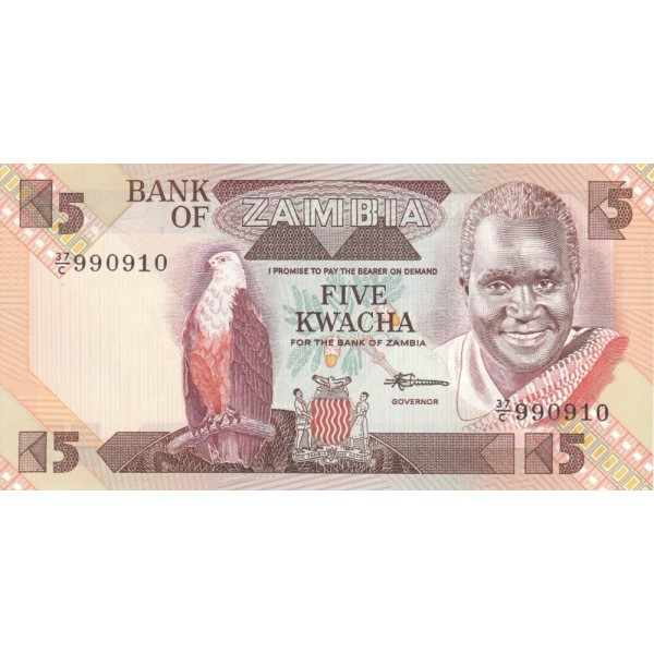 1980 - Zambia   pic  25d  billete de 5 Kwacha