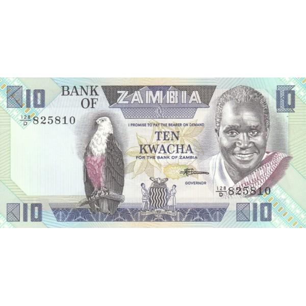 1980 - Zambia   Pic  26e  10 Kwacha  banknote