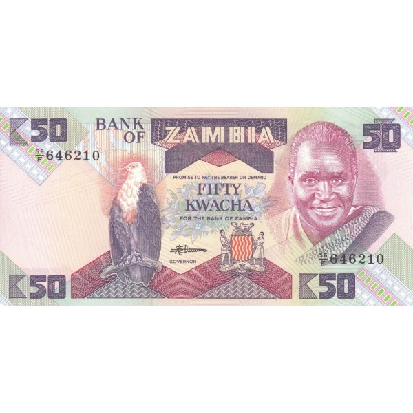 1986 Zambia pic 28 billete de 50-Kwacha