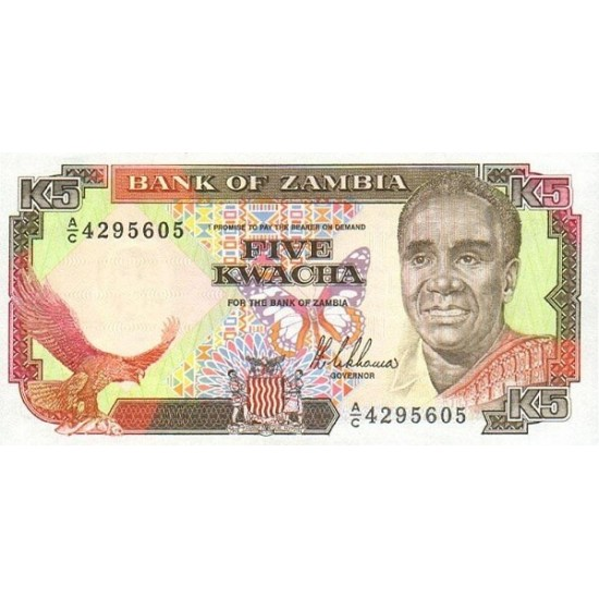 1989 - Zambia   Pic  30  5 Kwacha  banknote