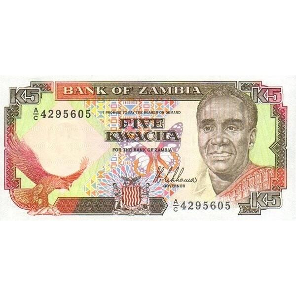 1989 Zambia pic 30 billete de 5 Kwacha