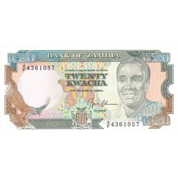 1989 Zambia pic 32b billete de 20 Kwacha