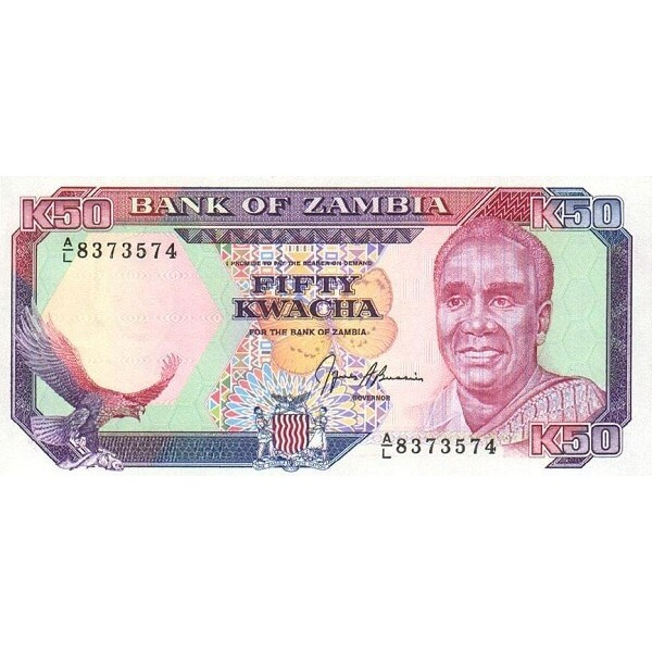 1989 Zambia pic 33b billete de 50 Kwacha