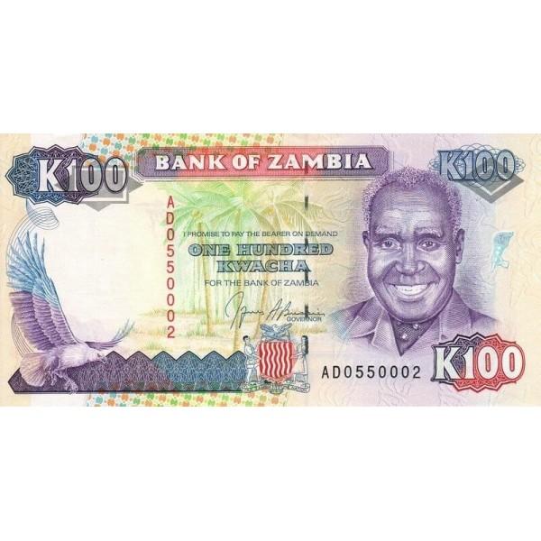 1991 - Zambia   Pic  34  100 Kwacha  banknote