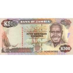 1991 - Zambia   Pic  35a  500 Kwacha  banknote