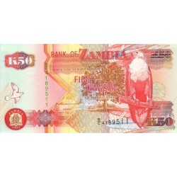 1992 - Zambia   Pic  37a   50 Kwacha  banknote