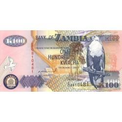 1992 - Zambia   Pic  38a   100 Kwacha  banknote
