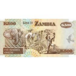 1992  Zambia   Pic  39a   500 Kwacha  banknote