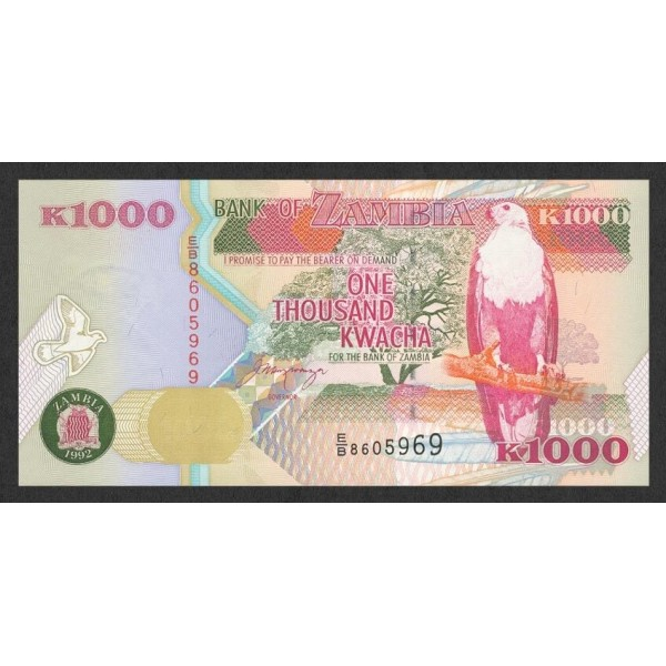 1992-Zambia   Pic  40a   1000 Kwacha  banknote