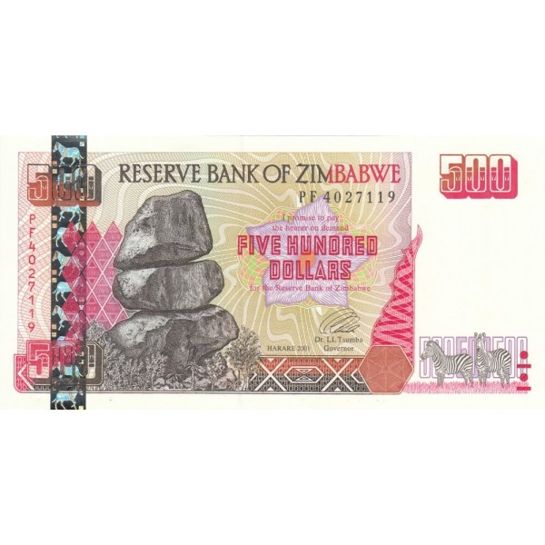 2001  - Zimbabwe   Pic  10    500  Dollars  banknote