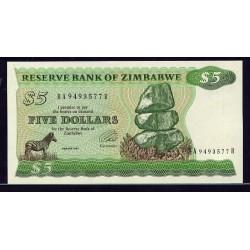 1994  - Zimbabwe   Pic  2e    5  Dollars  banknote  tip  B