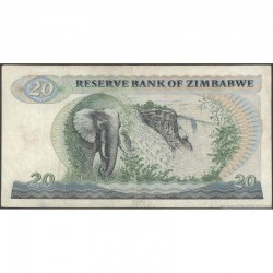 1993  - Zimbabwe   Pic  4c    20  Dollars  banknote