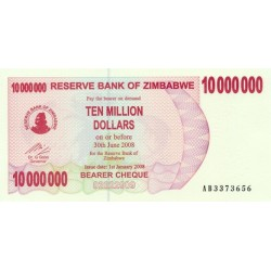2008  - Zimbabwe   Pic 55    10 million   Dollars  banknote