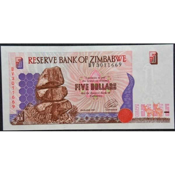1997  - Zimbabwe   Pic  5b    5  Dollars  banknote
