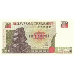 1994  - Zimbabwe   Pic  8    50  Dollars  banknote
