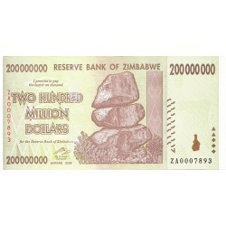 2008  - Zimbabwe   Pic 81    200 million   Dollars  banknote