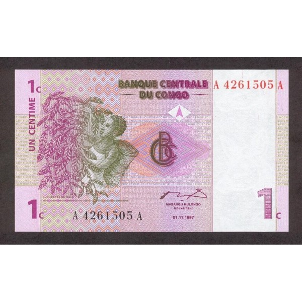 1997 -  Congo, Rep.Democ. Pic 80   billete de 1 céntimo