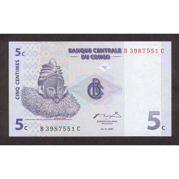 1997 -  Congo, Rep.Democ. Pic 81   billete de 5 céntimos