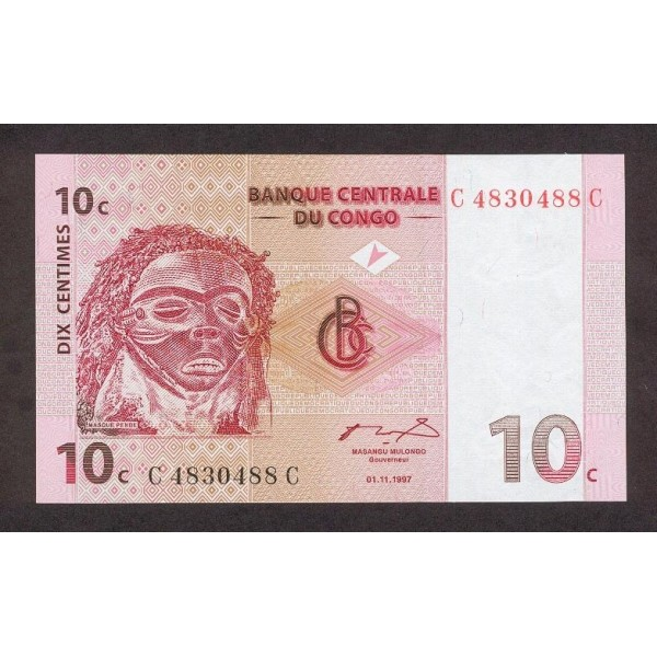 1997 -  Congo, Rep.Democ. Pic 82   billete de 10 céntimos