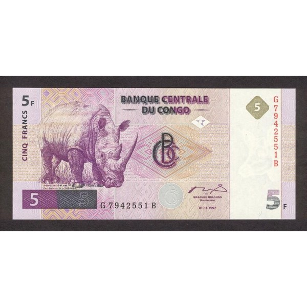 1997 -  Congo, Rep.Democ. Pic 86   billete de 5 Francos