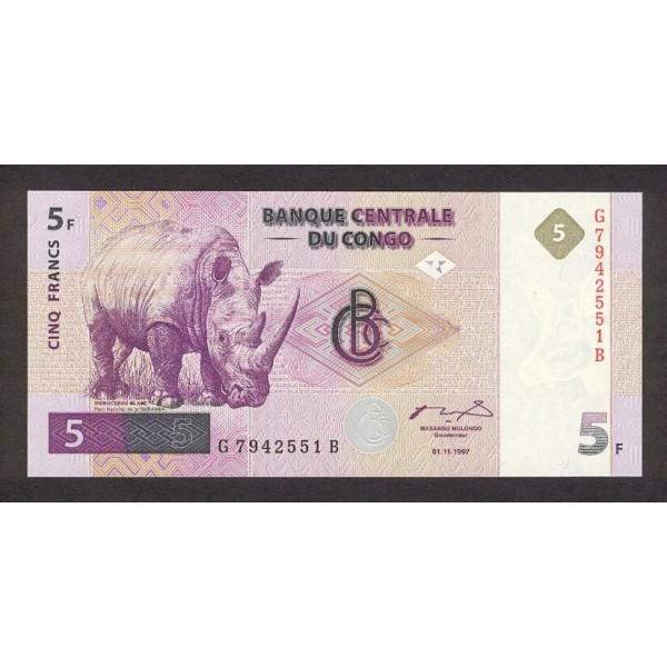 1997 - Congo, Rep.Dmoc. Pi c 86  5 francs banknote