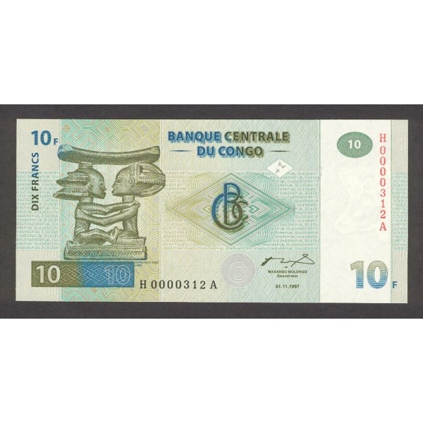 1997 -  Congo, Rep.Democ. Pic 87   billete de 10 Francos