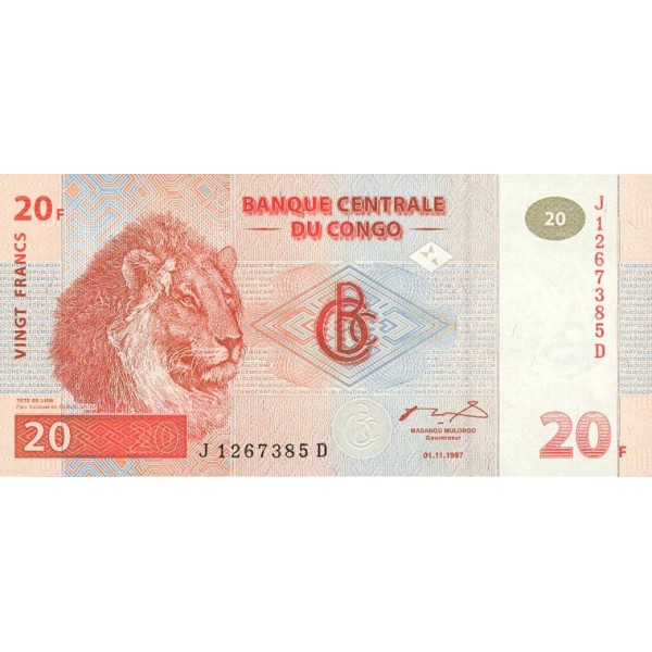 1997 -  Congo, Rep.Democ. Pic 88A   billete de 20 Francos