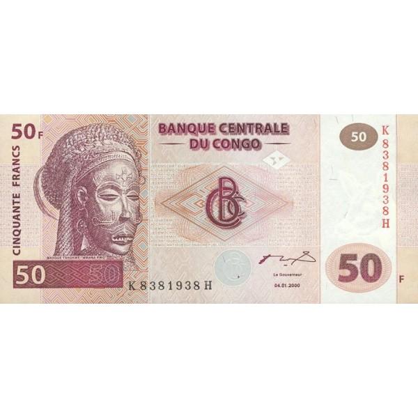 2000-  Congo, Rep.Democ. Pic 91   billete de 50 Francos