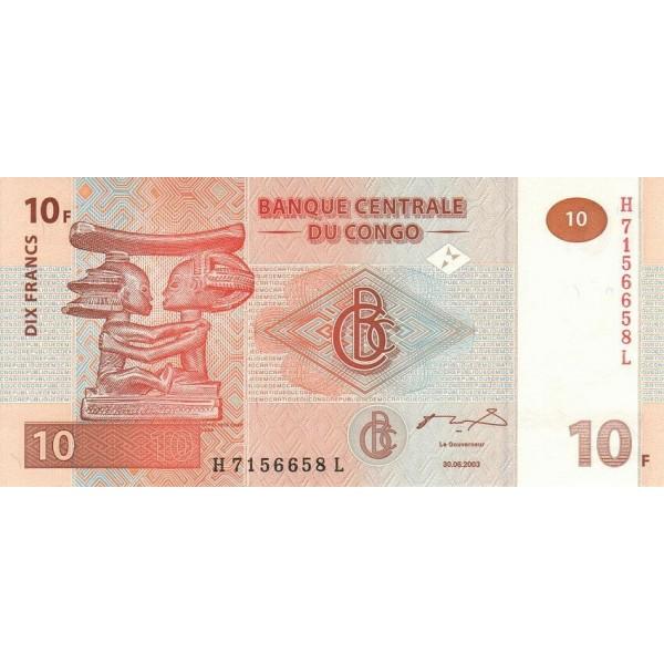 2003 -  Congo, Rep.Democ. Pic 93  billete de 10 Francos