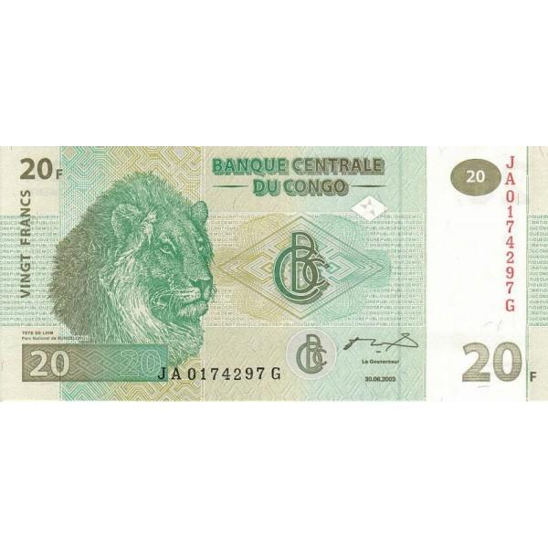 2003 - Congo, Rep.Dmoc. Pic 94  20 francs banknote