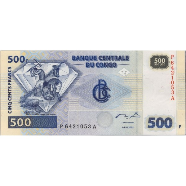 2002-  Congo, Rep.Democ. Pic 96   billete de 500 Francos