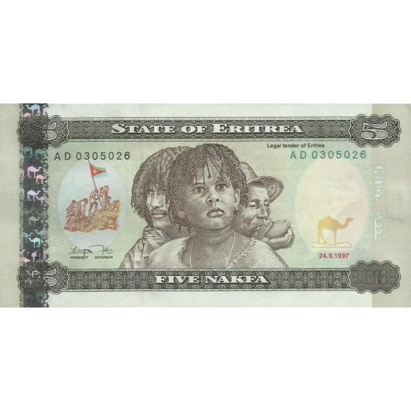 1997 -  Eritrea   pic 2   billete de   5 Nakfa