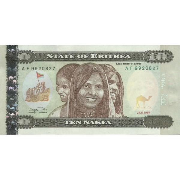 1997 -  Eritrea   pic 3  billete de   10 Nakfa