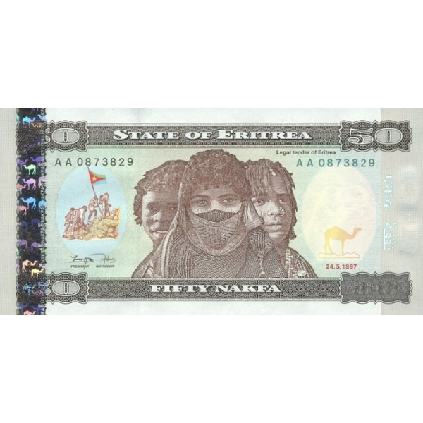 1997 -  Eritrea   pic 5 billete de   50 Nakfa