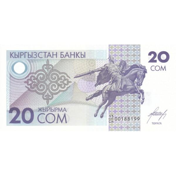 1993 Kyrgystan pìc 6 billete de 20 Som