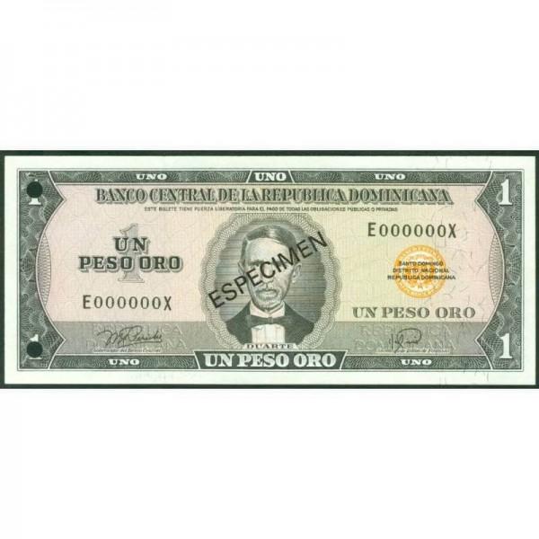 1974 - República Dominicana P107s billete 3 PesosOro Specimen