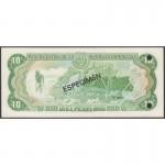 1982 - República Dominicana P119s1 billete 10 Pesos Oro Specimen