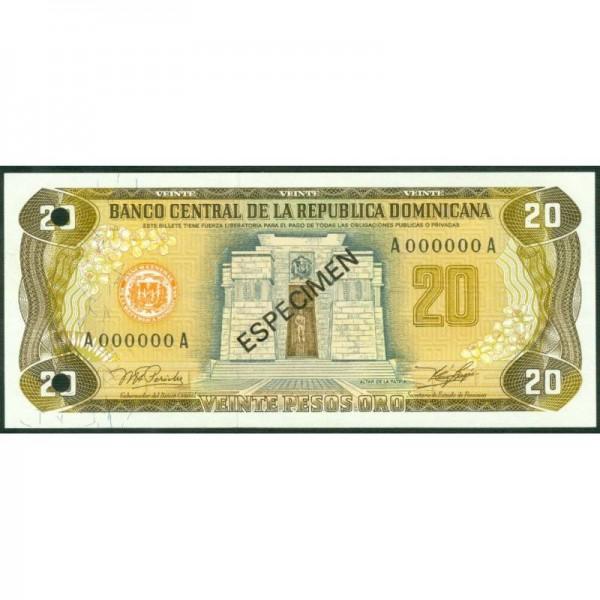 1978 - República Dominicana P120s1 billete 20 Pesos Oro Specimen